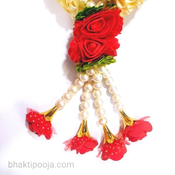 red white rose long mala