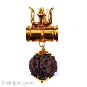 rudraksha trishul damru pendant