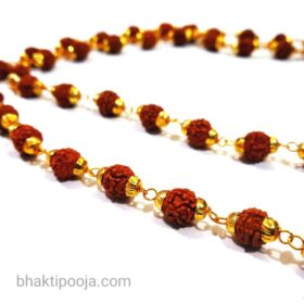 rudraksha mala with brass wire and Cap