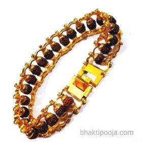 rudraksha bracelet brass chain with lock